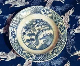 1573-1619  Keajaiban Tua dan antik Cina Ming Wanli Piring Biru dan Putih 'Burung Bangau' lukisan halus bagus dan indah.