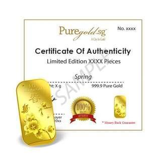 1g Spring Gold Bar