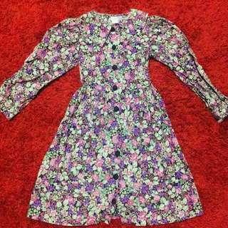 Floral Long Sleeve Dress w/ Peter Pan Collar