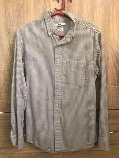 Uniqlo broadcloth long sleeve polo shirt for men
