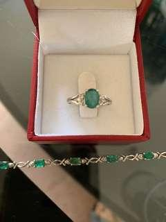 Emerald ring and bracelet