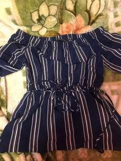 Cute Blue and White off the Shoulder Dress