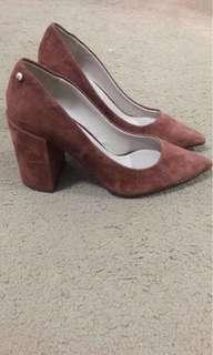 Mimco brown suede heels