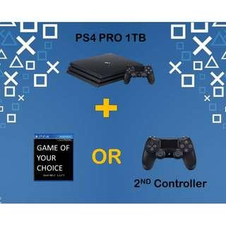 🚚 PS4 PRO 1TB Choose Your Own Bundle *GAME Of Your Choice OR Additional Controller (Brand New With Local Warranty)
