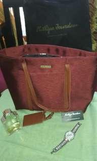 Philips Jourdan maroon merah tua merah bata original 100% tas bahu shoulder bag tas selempanf