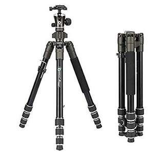 "BONFOTO 671A Travel Aluminum Camera Tripod, Lightweight with 1/4"" Quick Release Plates Ball Head for Canon/Nikon/Sony/Samsung/Panasonic Olympus DSLR"