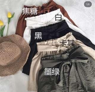 ✨BLACK baggy belt flare elastic highwaisted shorts // instock