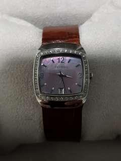 Beautiful Fossil ladies watch with pink oyster dial & diamond bezel