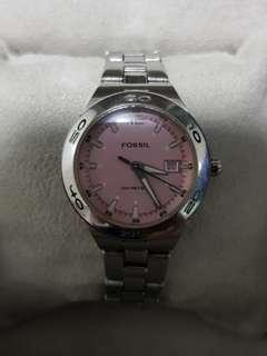 Pink dial Fossil watch in full stainless steel