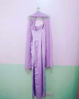 LIGHT PURPLE SLIM GOWN WITH SIDE SLIT