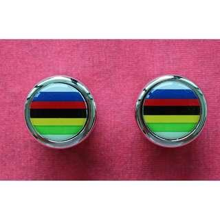 Ciclolinea Bar End Plugs – World Champion Stripes