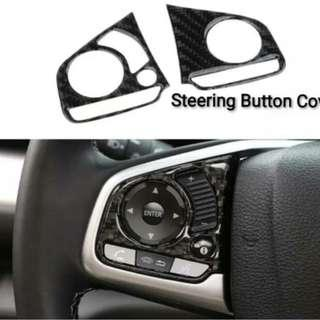 Honda Civic FC Steering Button Cover Real Carbon Fibre