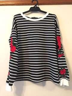 Rose Detail Striped Sweatshirt
