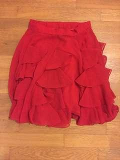 Frilly red skirt