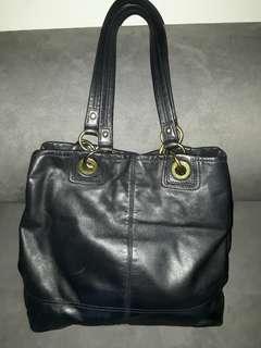 Coach Bag black leather H43.5 x W33.4 x B11.5 cm