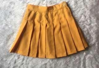 Mustard Yellow Tennis Korean Skirt