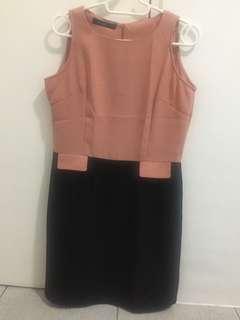 Vivant Peach and Black Dress (preloved)