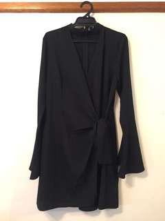 Black Choker Wrap Dress