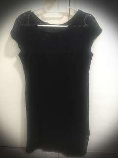 Upgrade Black Silk Dress with Lace design (preloved)