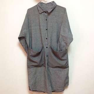 棉麻條紋襯衫洋裝