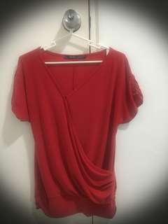 So-En Asymmetrical Red Blouse (preloved)