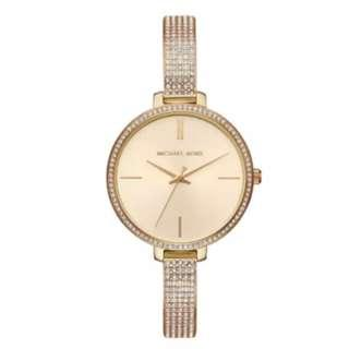Michael Kors Ladies' Jaryn Crystal Gold Sunray Dial Watch