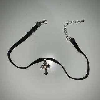 black velvet choker cross