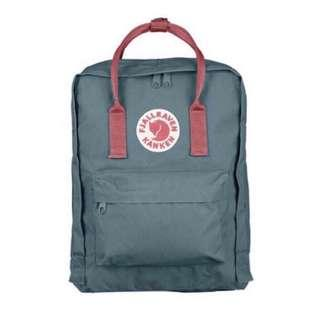 Authentic Classic Fjallraven Kanken (Forest green/peach pink)