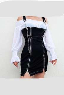 black strap chain dress