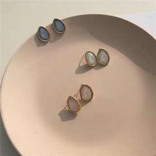 925銀 不規則樹脂法式浪漫耳環耳針式