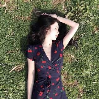cherry wrap summer dress