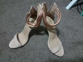 Nude gold heels