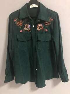 Embroidery green top