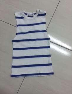 🚚 藍白條紋短版背心