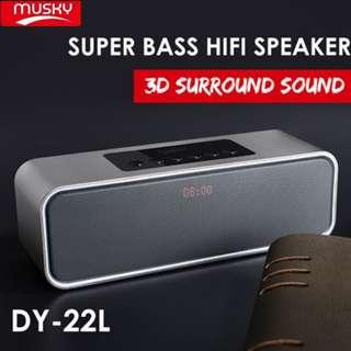 Musky DY22L Portable Bluetooth Wireless Speaker with FM Radio Clock SD Card Support