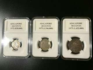 Singapore set of 3 coins (10, 20 & 50 cents) issued in 1975, Key Year.
