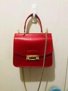 Furla 芙拉 紅色 斜咩 鏈條 手提 手袋 正品