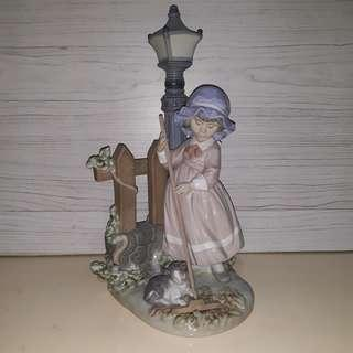 """12"""" Lladro Girl cleaning"""