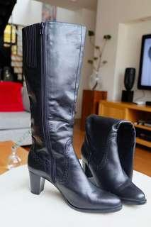 MAUD FRIZON Black Leather Boots Size EUR36