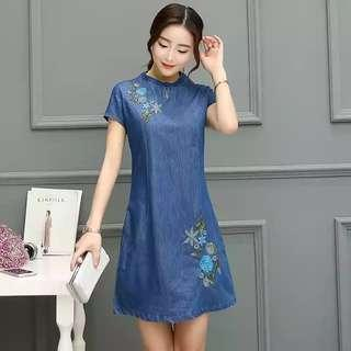 Embroidery Denim Dress