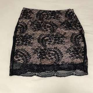 🚚 SALE: forever 21 black lace bodycon skirt