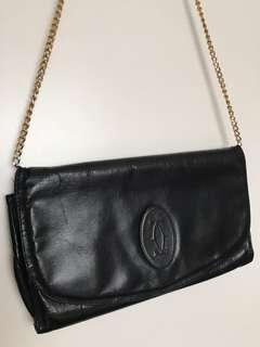 Vintage Cartier Black Leather Bag Luxury