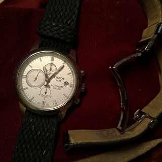 🚚 tissot 機械錶 三眼計時 白面
