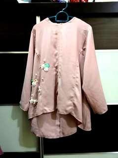 Baju kurung moden dusty pink