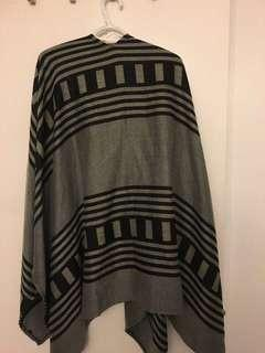 Black and Grey Sweater Poncho