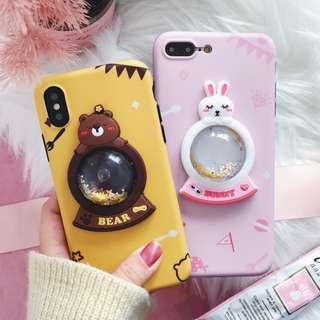 Bear rabbit glitter snowball phone case