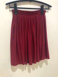 Maroon Skater Skirt Free Size