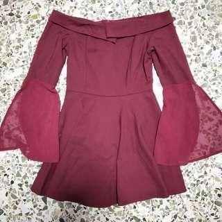 🚚 Maroon off shoulder bell sleeve romper dress