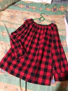 🚚 Checkered red off shoulder