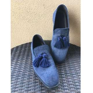 Jimmy Choo Blue Denim Tassel Loafer